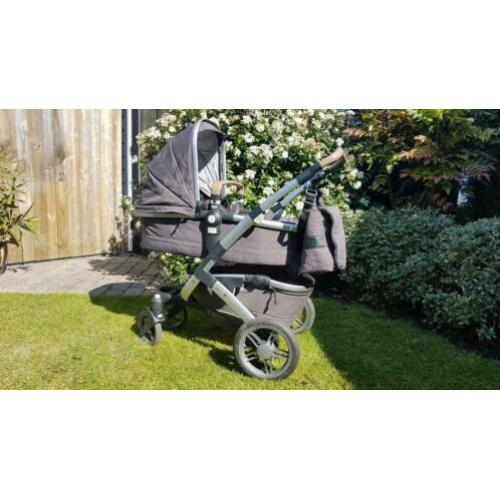 Joolz Geo Quadro carbon shady grey met verzorgingstas